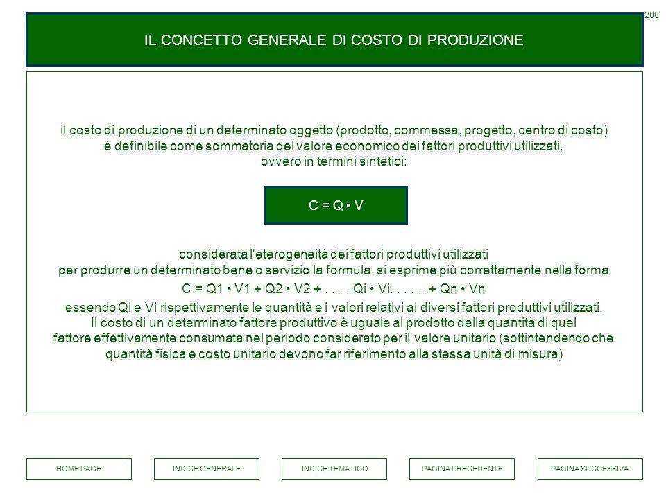 IL CONCETTO GENERALE DI COSTO DI PRODUZIONE il costo di produzione di un determinato oggetto (prodotto, commessa, progetto, centro di costo) è definib