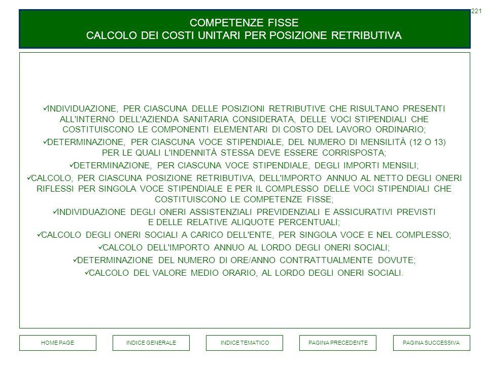 COMPETENZE FISSE CALCOLO DEI COSTI UNITARI PER POSIZIONE RETRIBUTIVA INDIVIDUAZIONE, PER CIASCUNA DELLE POSIZIONI RETRIBUTIVE CHE RISULTANO PRESENTI A