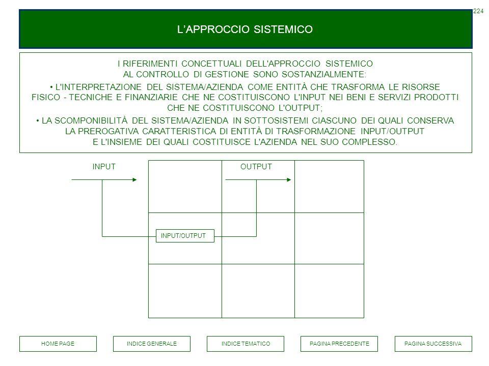 LAPPROCCIO SISTEMICO OUTPUT 224 INPUT/OUTPUT INPUT I RIFERIMENTI CONCETTUALI DELL'APPROCCIO SISTEMICO AL CONTROLLO DI GESTIONE SONO SOSTANZIALMENTE: L