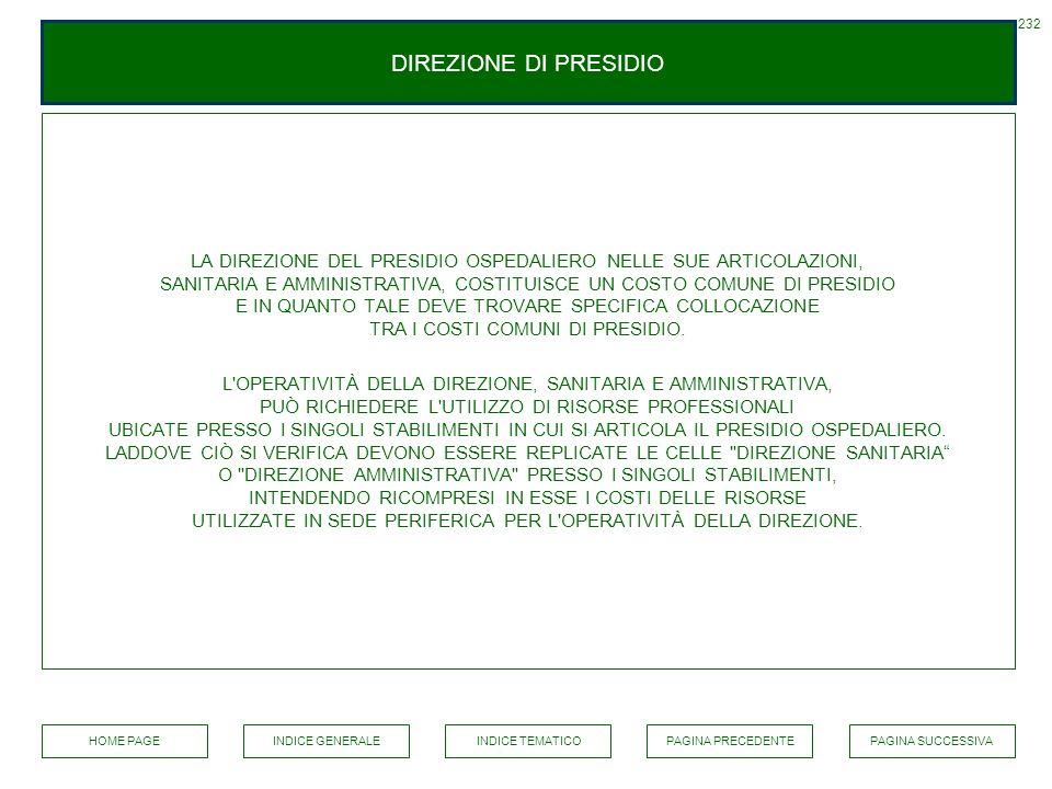 DIREZIONE DI PRESIDIO LA DIREZIONE DEL PRESIDIO OSPEDALIERO NELLE SUE ARTICOLAZIONI, SANITARIA E AMMINISTRATIVA, COSTITUISCE UN COSTO COMUNE DI PRESID