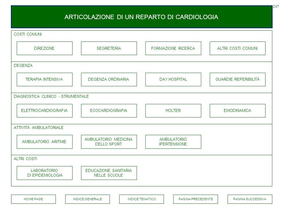ARTICOLAZIONE DI UN REPARTO DI CARDIOLOGIA COSTI COMUNI 247 DIREZIONESEGRETERIAFORMAZIONE RICERCAALTRI COSTI COMUNI DEGENZA TERAPIA INTENSIVADEGENZA O
