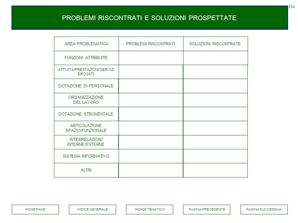 PROBLEMI RISCONTRATI E SOLUZIONI PROSPETTATE AREA PROBLEMATICA 304 PROBLEMI RISCONTRATISOLUZIONI RISCONTRATE FUNZIONI ATTRIBUITE ATTIVITÀ/PRESTAZIONI/