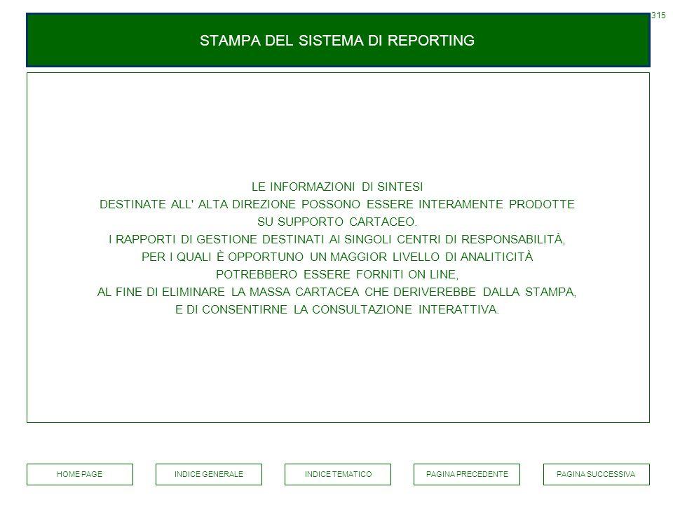 STAMPA DEL SISTEMA DI REPORTING LE INFORMAZIONI DI SINTESI DESTINATE ALL' ALTA DIREZIONE POSSONO ESSERE INTERAMENTE PRODOTTE SU SUPPORTO CARTACEO. I R