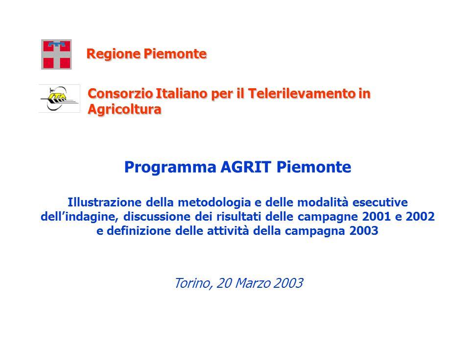 Programma AGRIT Piemonte Illustrazione della metodologia e delle modalità esecutive dellindagine, discussione dei risultati delle campagne 2001 e 2002