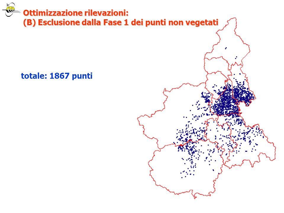 totale: 1867 punti Ottimizzazione rilevazioni: (B) Esclusione dalla Fase 1 dei punti non vegetati