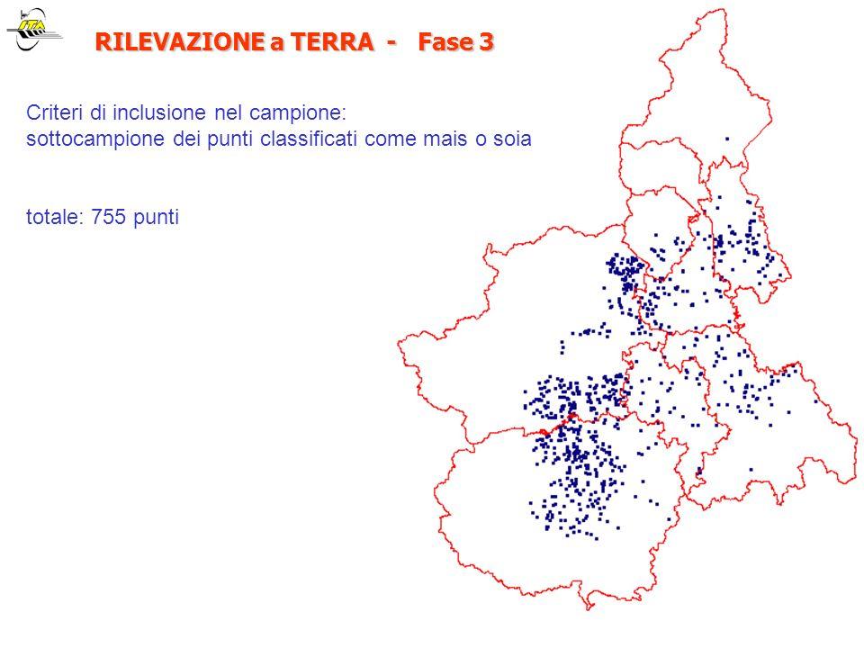 RILEVAZIONE a TERRA - Fase 3 RILEVAZIONE a TERRA - Fase 3 Criteri di inclusione nel campione: sottocampione dei punti classificati come mais o soia to