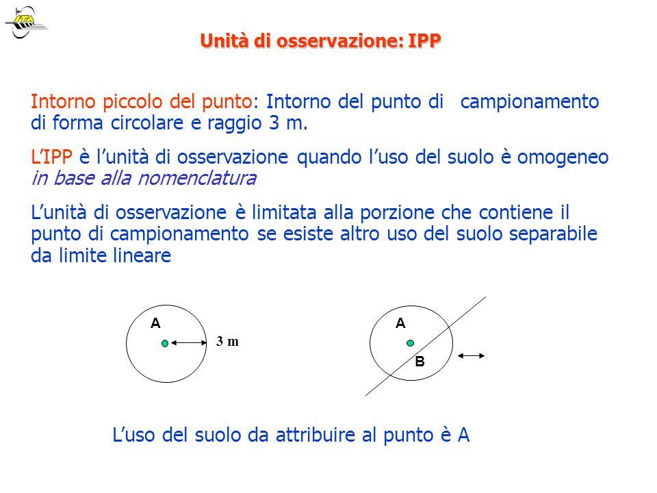 Unità di osservazione: IPP Intorno piccolo del punto: Intorno del punto di campionamento di forma circolare e raggio 3 m. LIPP è lunità di osservazion