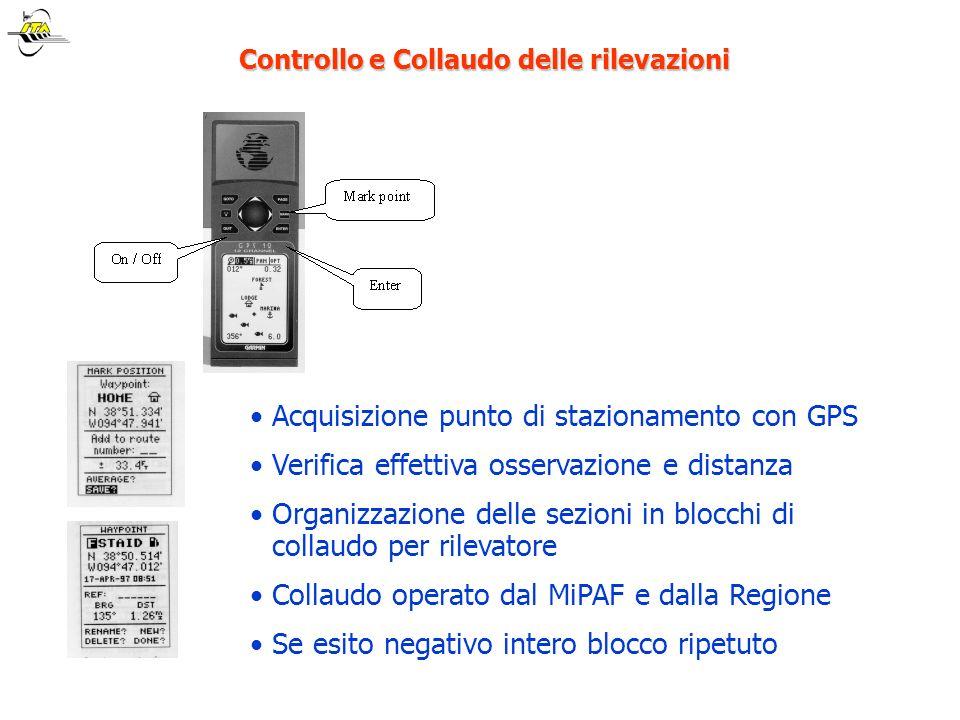 Controllo e Collaudo delle rilevazioni Controllo e Collaudo delle rilevazioni Acquisizione punto di stazionamento con GPS Verifica effettiva osservazi