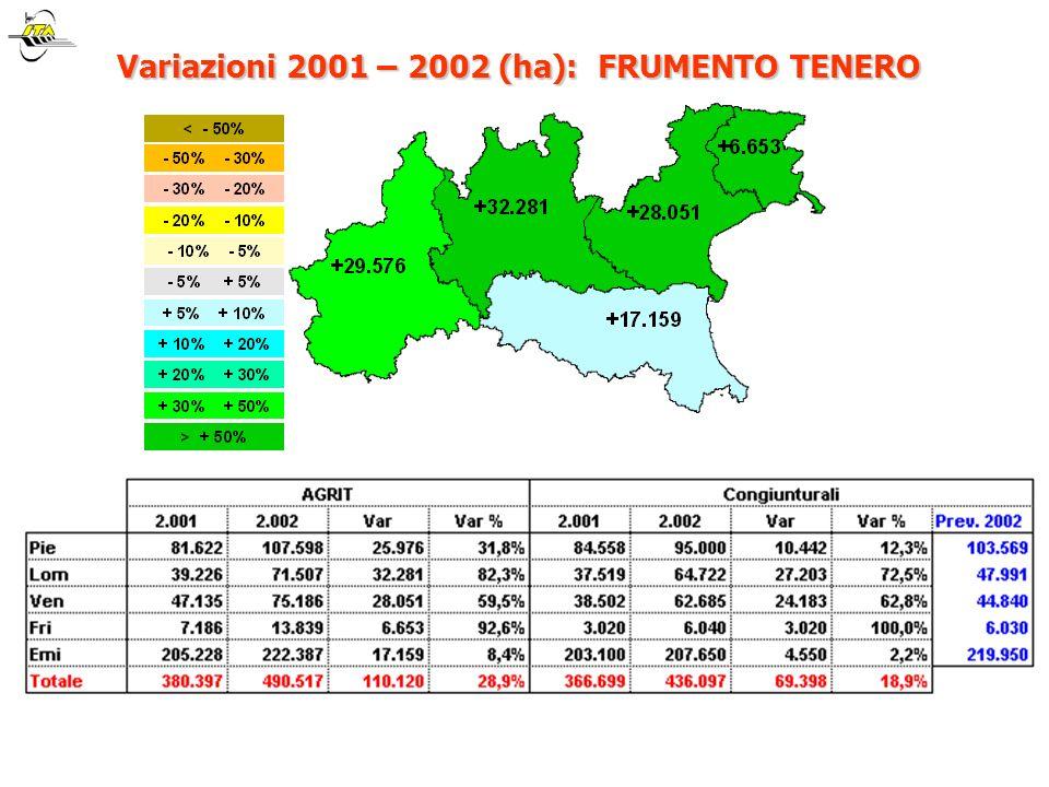 Variazioni 2001 – 2002 (ha): FRUMENTO TENERO