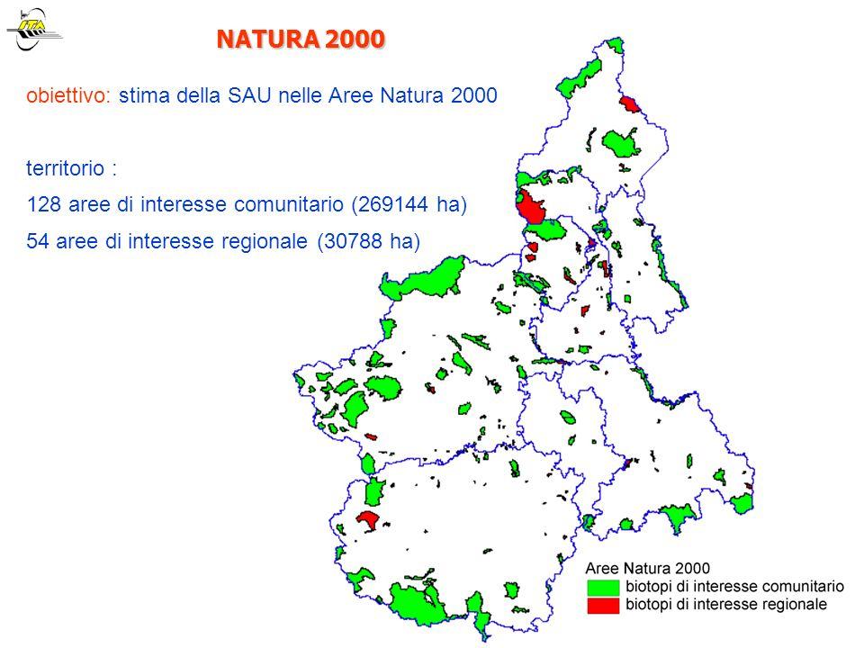 NATURA 2000 NATURA 2000 obiettivo: stima della SAU nelle Aree Natura 2000 territorio : 128 aree di interesse comunitario (269144 ha) 54 aree di intere