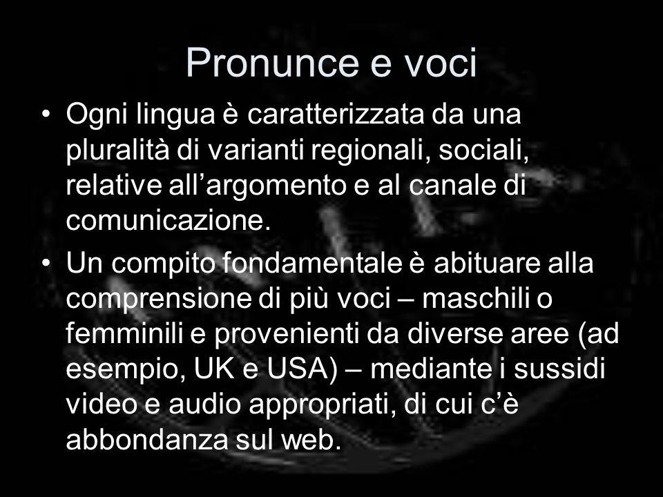 Pronunce e voci Ogni lingua è caratterizzata da una pluralità di varianti regionali, sociali, relative allargomento e al canale di comunicazione. Un c