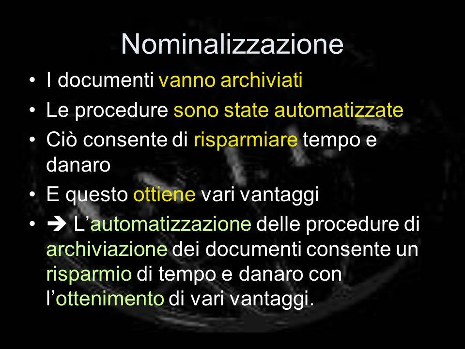 Nominalizzazione I documenti vanno archiviati Le procedure sono state automatizzate Ciò consente di risparmiare tempo e danaro E questo ottiene vari v