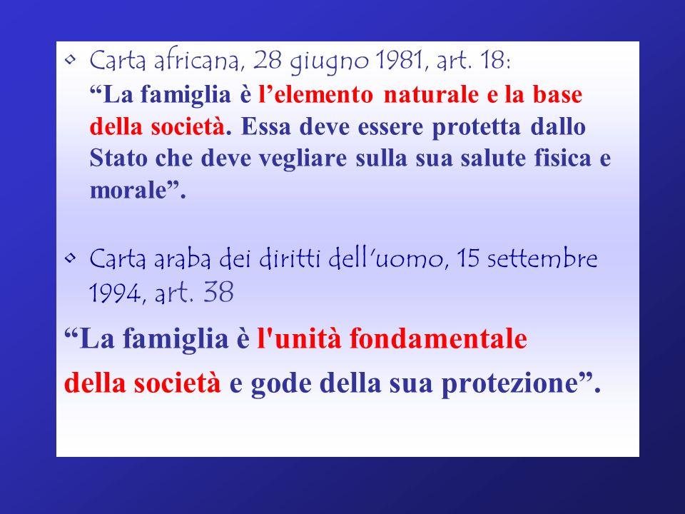 Carta africana, 28 giugno 1981, art. 18: La famiglia è lelemento naturale e la base della società. Essa deve essere protetta dallo Stato che deve vegl