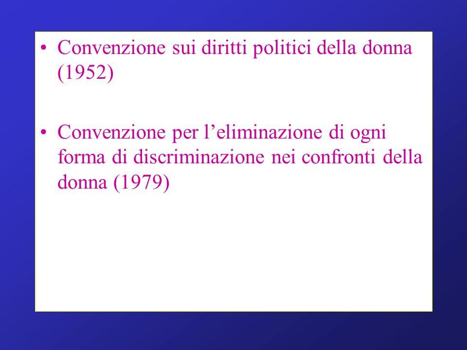 Convenzione sui diritti politici della donna (1952) Convenzione per leliminazione di ogni forma di discriminazione nei confronti della donna (1979)
