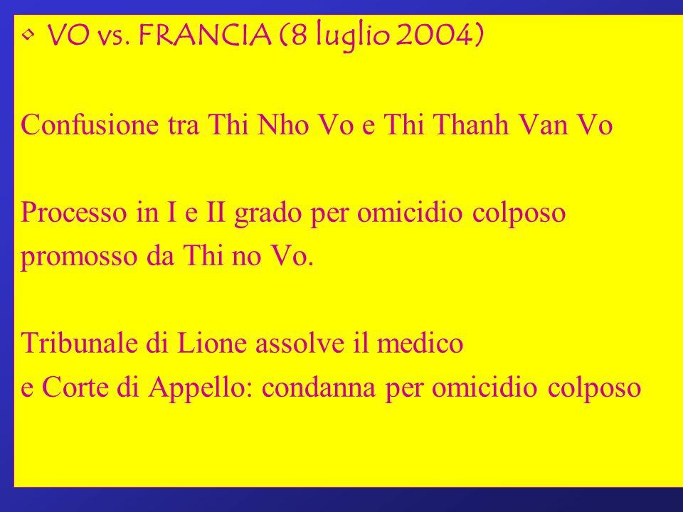 VO vs. FRANCIA (8 luglio 2004) Confusione tra Thi Nho Vo e Thi Thanh Van Vo Processo in I e II grado per omicidio colposo promosso da Thi no Vo. Tribu