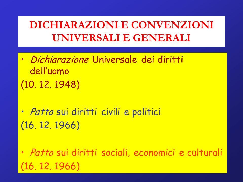 DICHIARAZIONI E CONVENZIONI UNIVERSALI E GENERALI Dichiarazione Universale dei diritti delluomo (10. 12. 1948) Patto sui diritti civili e politici (16