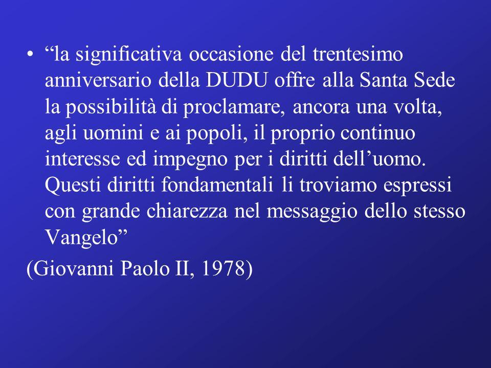 la significativa occasione del trentesimo anniversario della DUDU offre alla Santa Sede la possibilità di proclamare, ancora una volta, agli uomini e