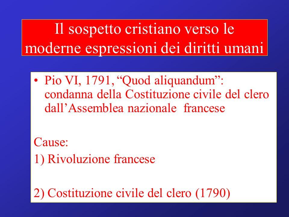 Il sospetto cristiano verso le moderne espressioni dei diritti umani Pio VI, 1791, Quod aliquandum: condanna della Costituzione civile del clero dallA