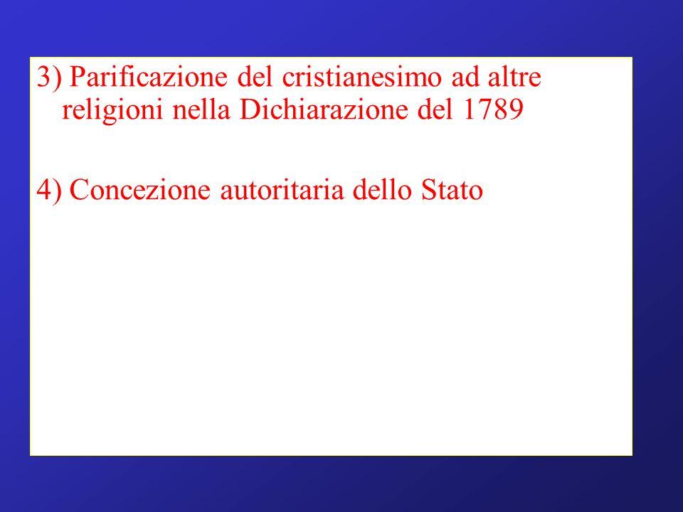 3) Parificazione del cristianesimo ad altre religioni nella Dichiarazione del 1789 4) Concezione autoritaria dello Stato