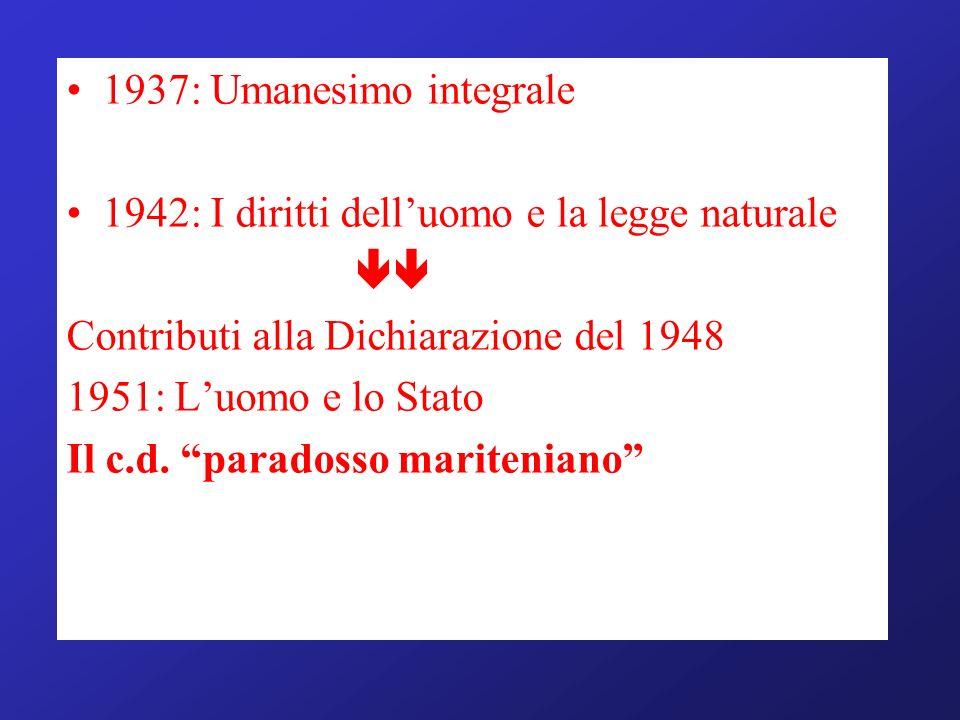 1937: Umanesimo integrale 1942: I diritti delluomo e la legge naturale Contributi alla Dichiarazione del 1948 1951: Luomo e lo Stato Il c.d. paradosso