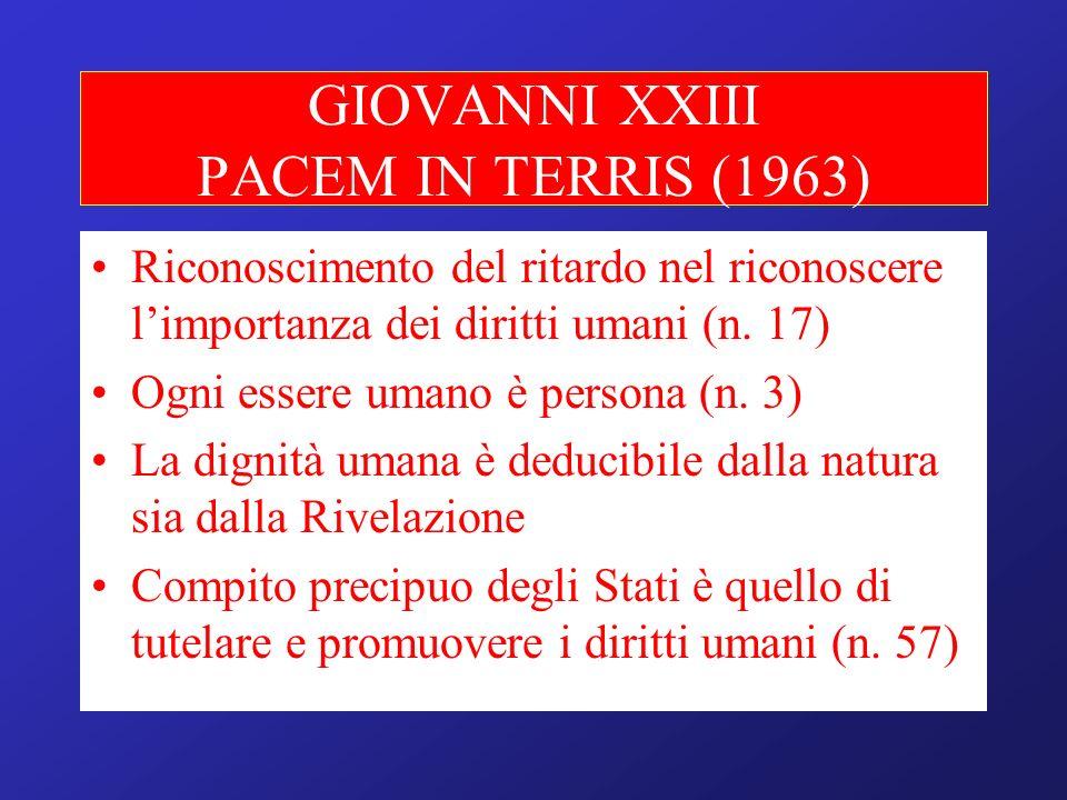 GIOVANNI XXIII PACEM IN TERRIS (1963) Riconoscimento del ritardo nel riconoscere limportanza dei diritti umani (n. 17) Ogni essere umano è persona (n.