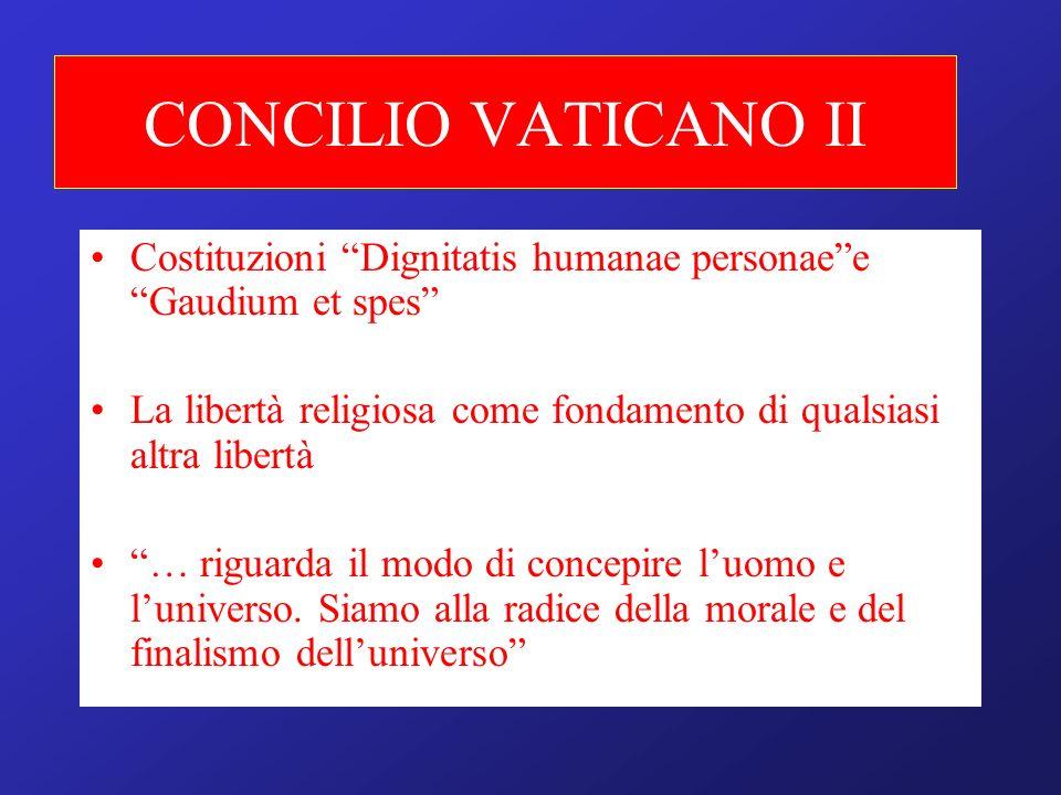 CONCILIO VATICANO II Costituzioni Dignitatis humanae personaee Gaudium et spes La libertà religiosa come fondamento di qualsiasi altra libertà … rigua