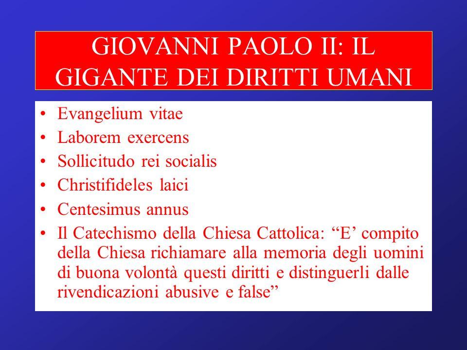 GIOVANNI PAOLO II: IL GIGANTE DEI DIRITTI UMANI Evangelium vitae Laborem exercens Sollicitudo rei socialis Christifideles laici Centesimus annus Il Ca
