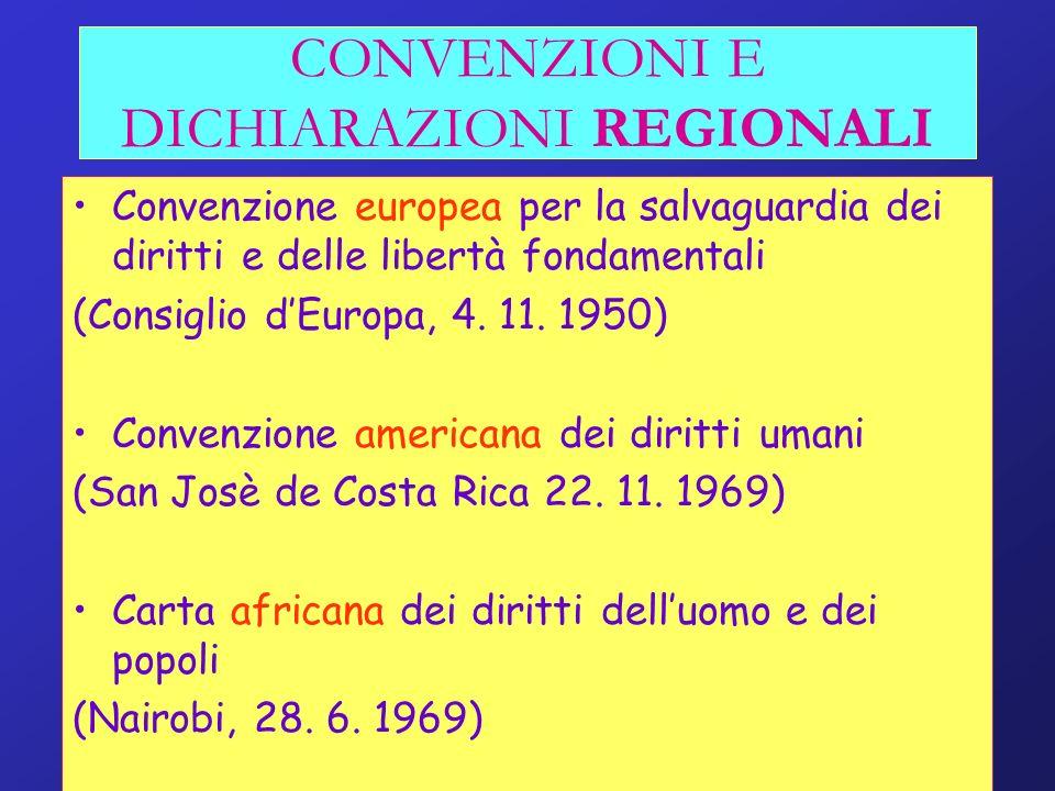 CONVENZIONI E DICHIARAZIONI REGIONALI Convenzione europea per la salvaguardia dei diritti e delle libertà fondamentali (Consiglio dEuropa, 4. 11. 1950