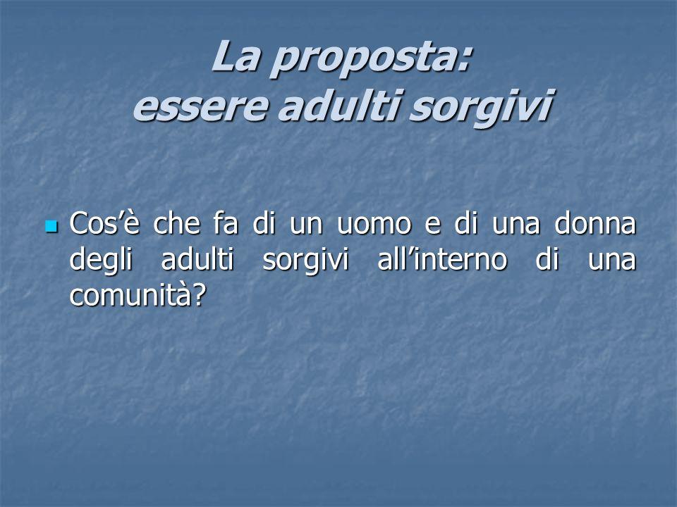 La proposta: essere adulti sorgivi Cosè che fa di un uomo e di una donna degli adulti sorgivi allinterno di una comunità? Cosè che fa di un uomo e di