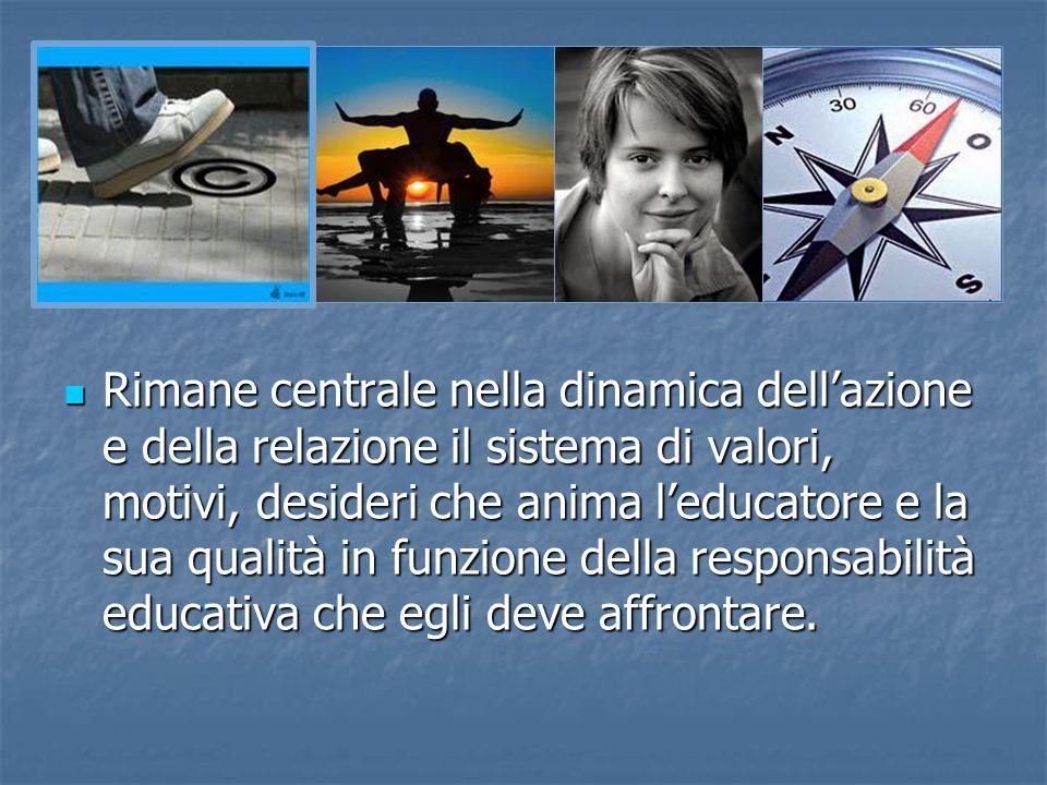 Rimane centrale nella dinamica dellazione e della relazione il sistema di valori, motivi, desideri che anima leducatore e la sua qualità in funzione d