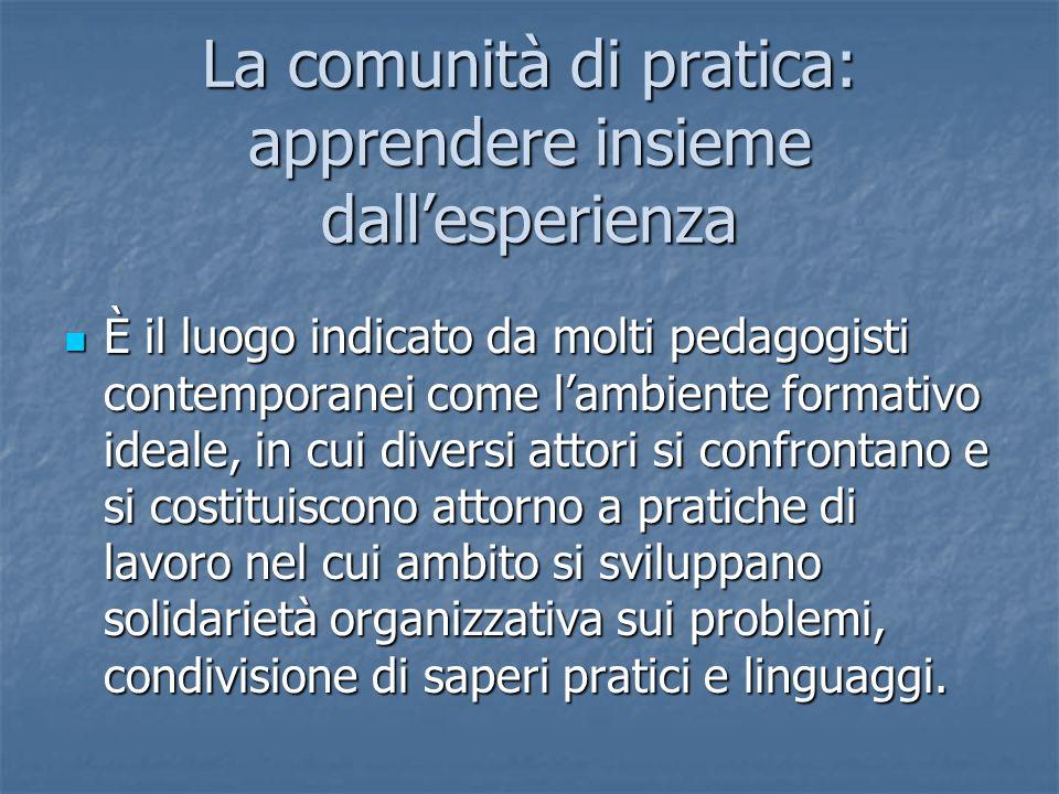 La comunità di pratica: apprendere insieme dallesperienza È il luogo indicato da molti pedagogisti contemporanei come lambiente formativo ideale, in c