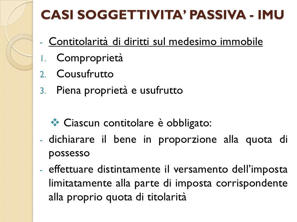 CASI SOGGETTIVITA PASSIVA - IMU - Contitolarità di diritti sul medesimo immobile 1. Comproprietà 2. Cousufrutto 3. Piena proprietà e usufrutto Ciascun