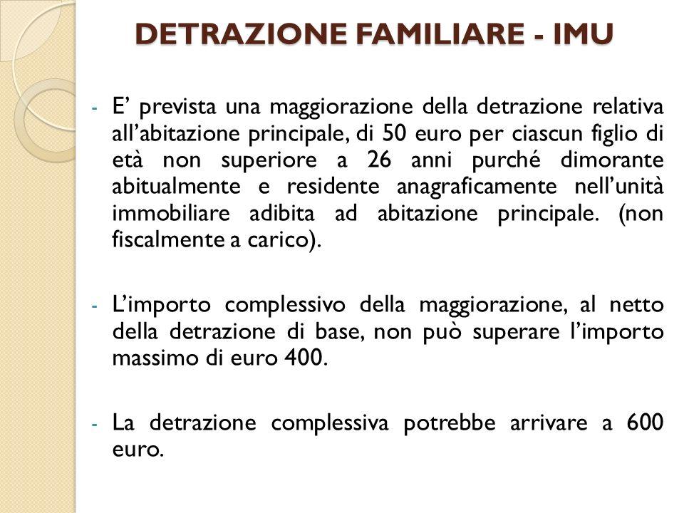 DETRAZIONE FAMILIARE - IMU - E prevista una maggiorazione della detrazione relativa allabitazione principale, di 50 euro per ciascun figlio di età non
