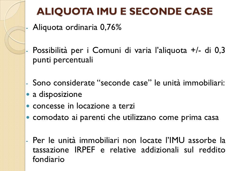 ALIQUOTA IMU E SECONDE CASE - Aliquota ordinaria 0,76% - Possibilità per i Comuni di varia laliquota +/- di 0,3 punti percentuali - Sono considerate s