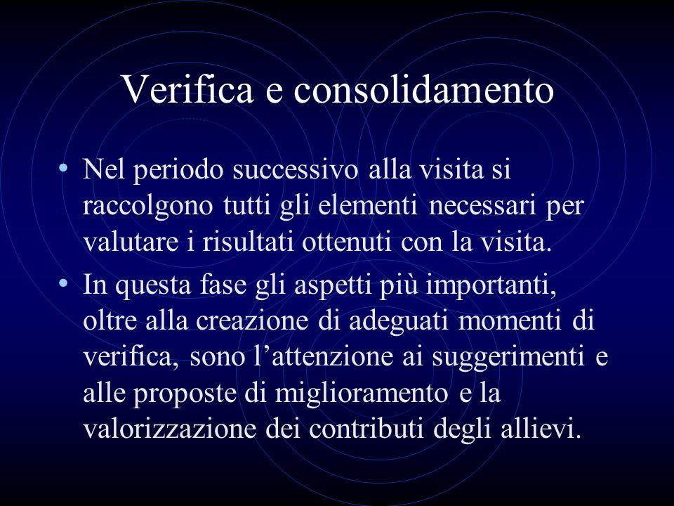Verifica e consolidamento Nel periodo successivo alla visita si raccolgono tutti gli elementi necessari per valutare i risultati ottenuti con la visit