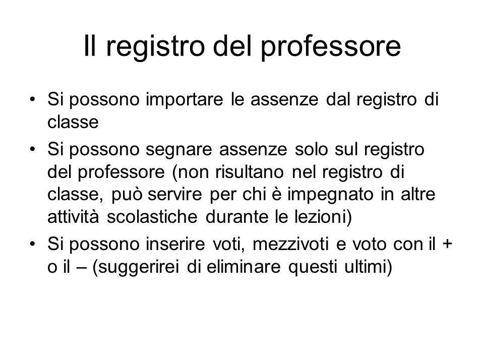 Il registro del professore Si possono importare le assenze dal registro di classe Si possono segnare assenze solo sul registro del professore (non ris