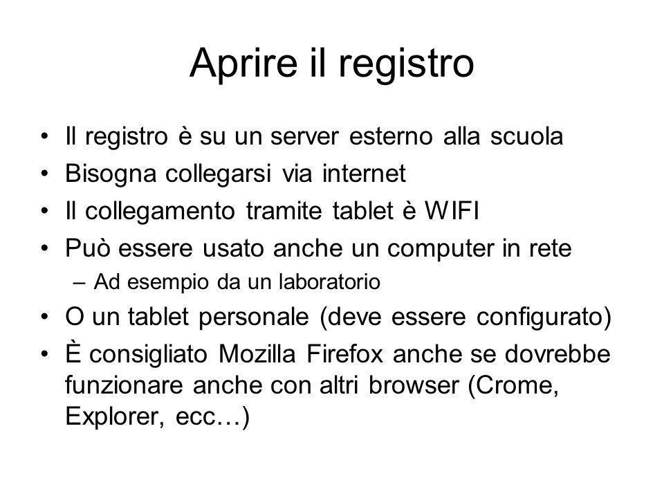 Aprire il registro Il registro è su un server esterno alla scuola Bisogna collegarsi via internet Il collegamento tramite tablet è WIFI Può essere usa