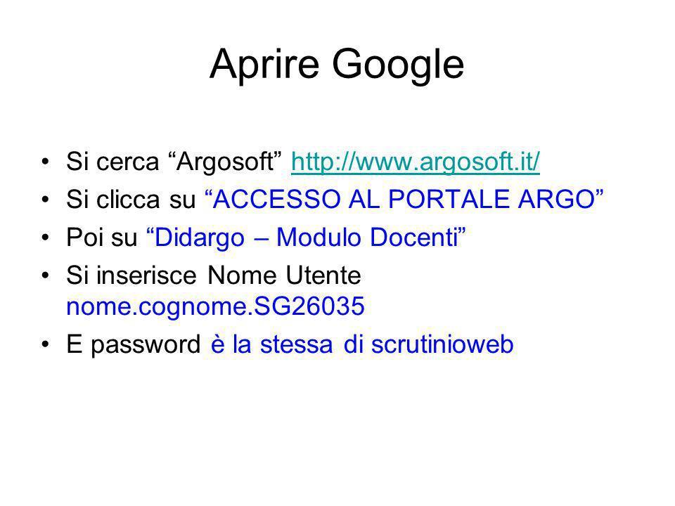 Aprire Google Si cerca Argosoft http://www.argosoft.it/http://www.argosoft.it/ Si clicca su ACCESSO AL PORTALE ARGO Poi su Didargo – Modulo Docenti Si