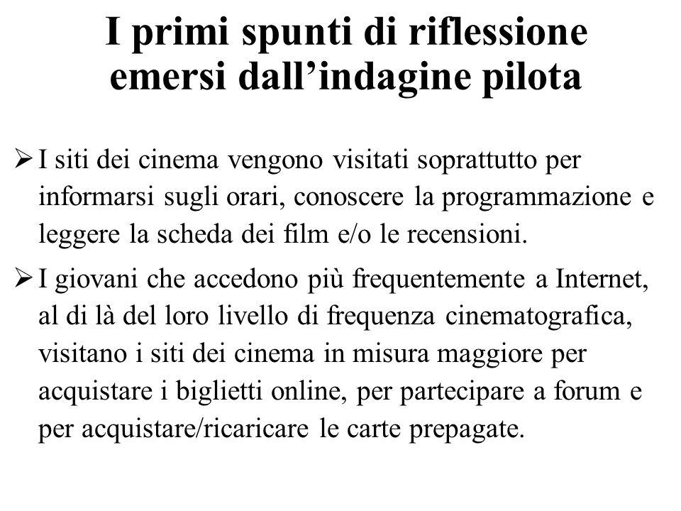 I primi spunti di riflessione emersi dallindagine pilota I siti dei cinema vengono visitati soprattutto per informarsi sugli orari, conoscere la programmazione e leggere la scheda dei film e/o le recensioni.
