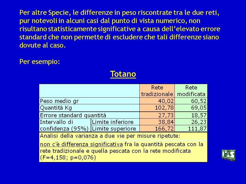 RISULTATI PESO DEL PESCATO Specie non target unità di analisi: uscita in mare Scorfano Tale tipo di differenza si verifica solo per lo scorfano.