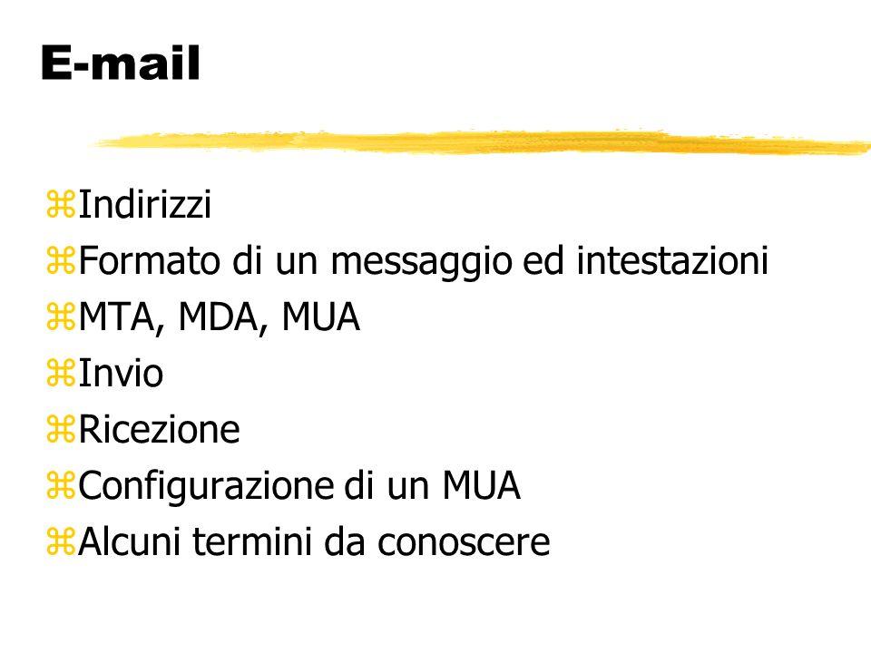 Mail Transport Agent È il programma che si prende carico di far arrivare il messaggio fino al calcolatore che ospita la casella di posta elettronica del destinatario Si rivolge ad altri MTA se non può consegnare la posta direttamente
