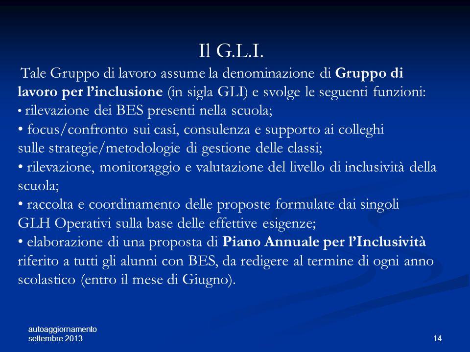 autoaggiornamento settembre 2013 14 Il G.L.I. Tale Gruppo di lavoro assume la denominazione di Gruppo di lavoro per linclusione (in sigla GLI) e svolg