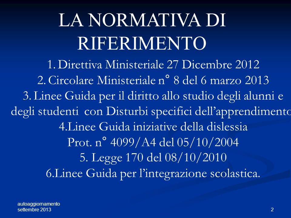 autoaggiornamento settembre 2013 3 LA SCUOLA DELLINTEGRAZIONE: E UNA SITUAZIONE SI RIFERISCE ALLAMBITO EDUCATIVO GUARDA AL SINGOLO INTERVIENE PRIMA SUL SOGGETTO E POI SUL CONTESTO INCREMENTA UNA RISPOSTA SPECIALISTICA LA SCUOLA DELLINCLUSIONE: E UN PROCESSO SI RIFERISCE ALLA GLOBALITA DELLE SFERE: POLITICA, EDUCATIVA E SOCIALE.