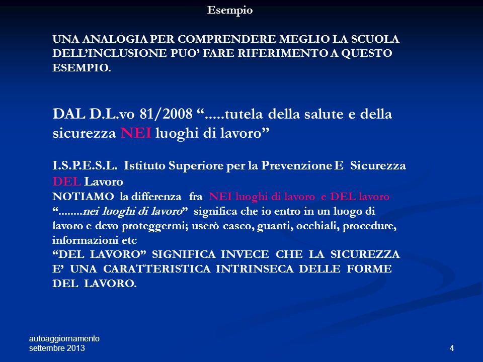 autoaggiornamento settembre 2013 5 IL CONCETTO DI BISOGNI EDUCATIVI SPECIALI SI FONDA SU UNA VISIONE GLOBALE DELLA PERSONA CHE FA RIFERIMENTO AL MODELLO DELLA CLASSIFICAZIONE INTERNAZIONALE DEL FUNZIONAMENTO, DISABILITA E SALUTE ( INTERNATIONAL CLASSIFICATION OF FUNCTIONING, DISABILITY AND HEALTH I.C.F.) COME DEFINITO DALLORGANIZZAZIONE MONDIALE DELLA SANITA O.M.S.