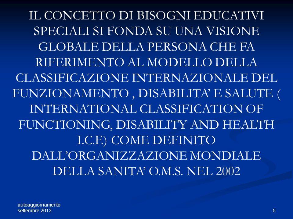 autoaggiornamento settembre 2013 5 IL CONCETTO DI BISOGNI EDUCATIVI SPECIALI SI FONDA SU UNA VISIONE GLOBALE DELLA PERSONA CHE FA RIFERIMENTO AL MODEL
