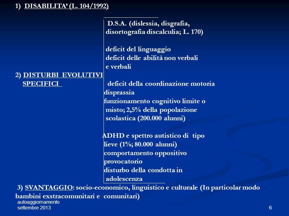 autoaggiornamento settembre 2013 6 1) DISABILITA (L. 104/1992) D.S.A. (dislessia, disgrafia, disortografia discalculia; L. 170) deficit del linguaggio