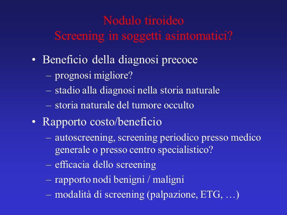 Nodulo tiroideo Screening in soggetti asintomatici? Beneficio della diagnosi precoce –prognosi migliore? –stadio alla diagnosi nella storia naturale –