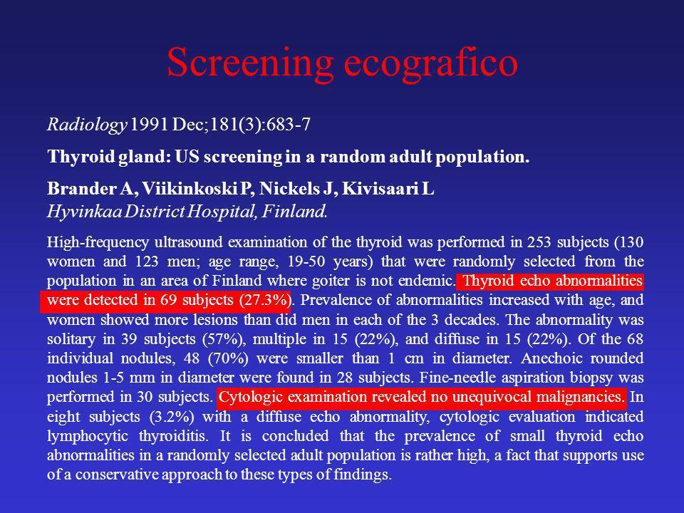 Screening ecografico Radiology 1991 Dec;181(3):683-7 Thyroid gland: US screening in a random adult population. Brander A, Viikinkoski P, Nickels J, Ki