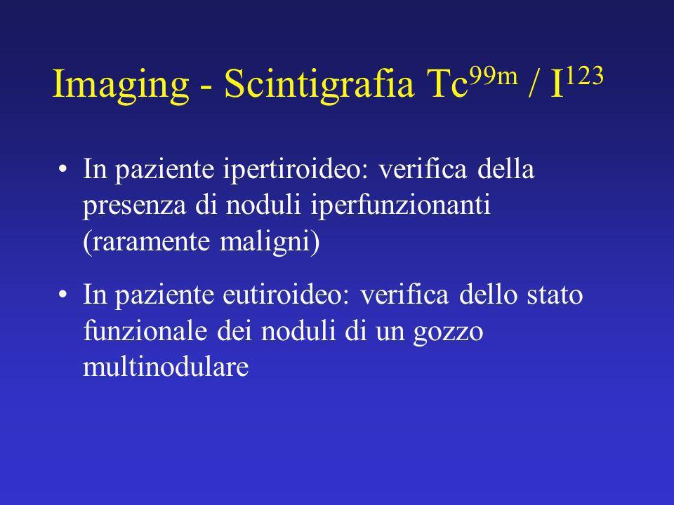 Imaging - Scintigrafia Tc 99m / I 123 In paziente ipertiroideo: verifica della presenza di noduli iperfunzionanti (raramente maligni) In paziente euti