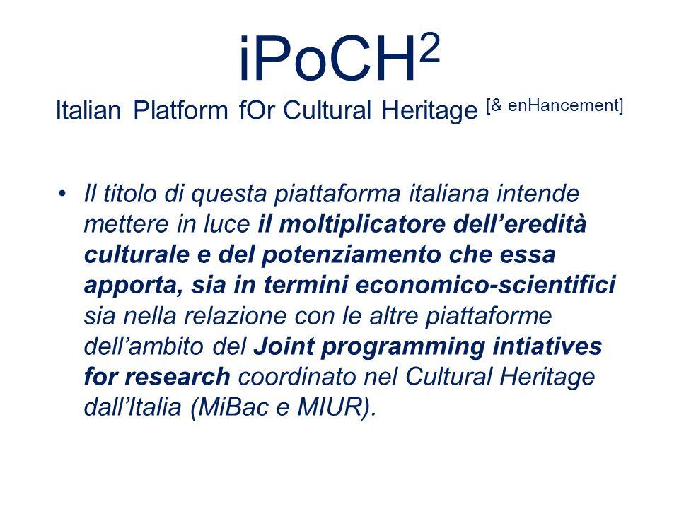 PREMESSA I La Piattaforma è stata costituita il 19 aprile 2011 e promossa da Confindustria Servizi Innovativi e Tecnologici, Confcultura e il MIUR Alla Piattaforma partecipano 137 Aziende, 120 Università e Centri di Ricerca, 43 Associazioni, nonché Musei e Istituzioni regionali e nazionali, per un totale di 311 Entità Chairman della Piattaforma Patrizia Asproni, Segretario Generale Luigi Perissich, Rapporteur Coordinamento Scientifico Prof.